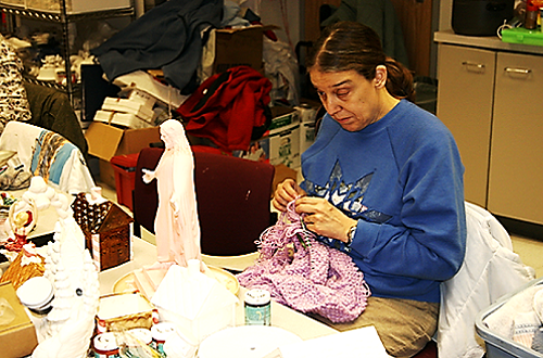 a UCB member is knitting