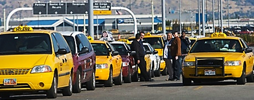 Yellow cabs from Salt Lake City waiting for riders